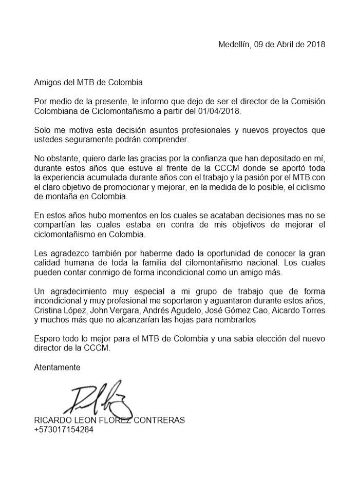 Despedida de Ricardo Flórez