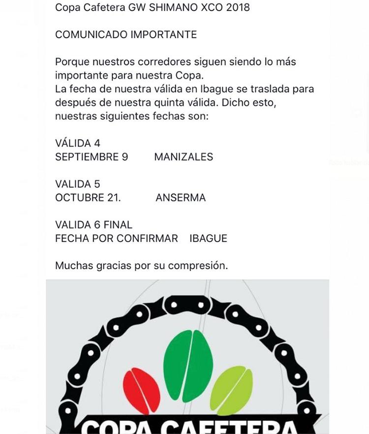 Cambios en el calendario de la Copa Cafetera