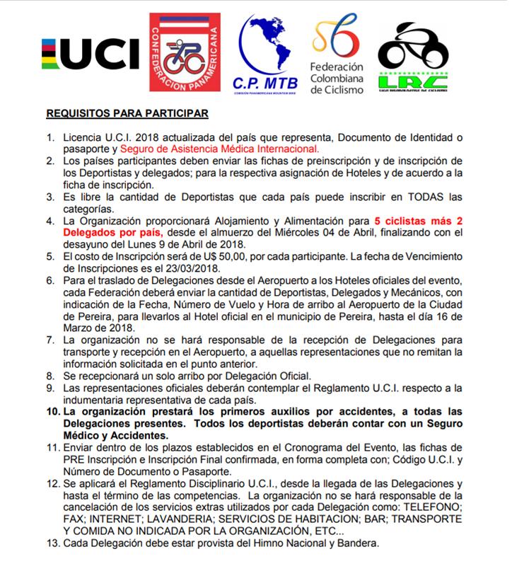 Requisitos y programación Panamericano 2018