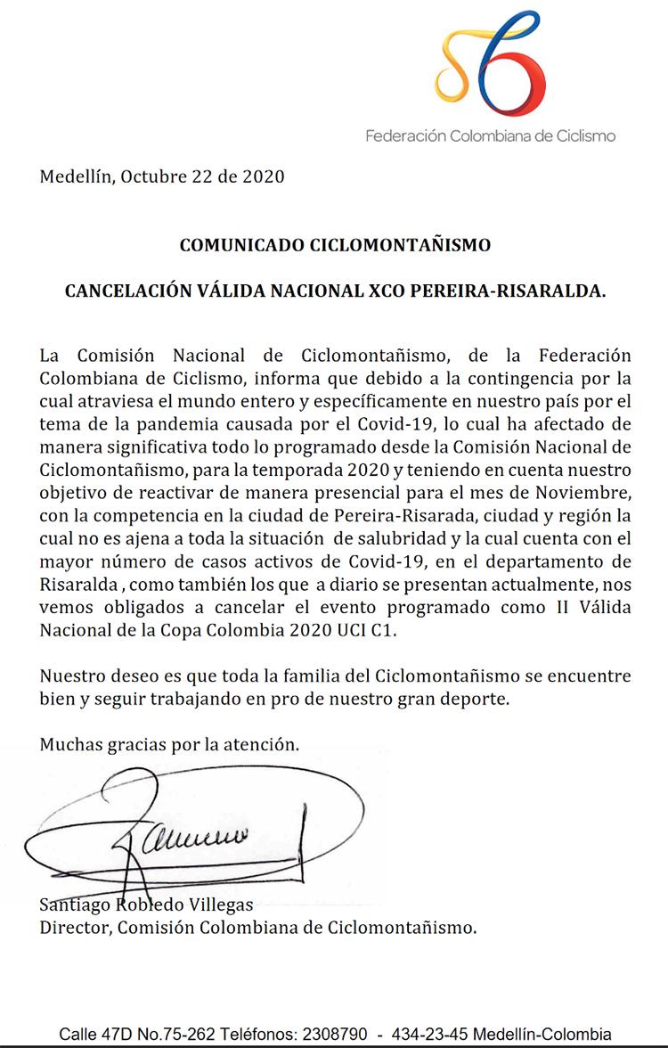 Cancelada 2° válida Copa Colombia en Risaralda.